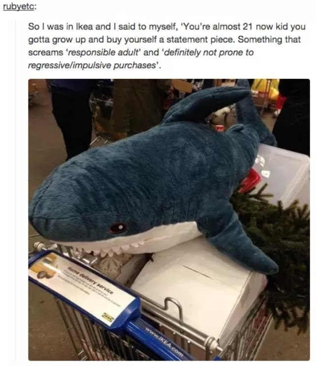 ikea shark - Jeans - So I was in Ikea and I said to myself, 'You're almost 21 now kid you gotta grow up and buy yourself a statement piece. Something that screams 'responsible adult' and 'definitely not prone to regressive/impulsive purchases'. rubyetc: Home delivery service www.IKEA.com