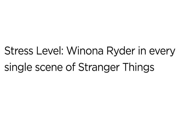 """Meme - """"Stress Level: Winona Ryder in every single scene of Stranger Things"""""""