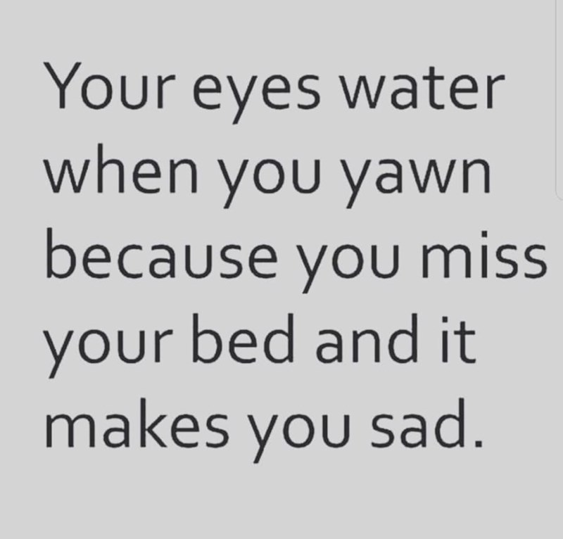 Text - Your eyes water when you yawn because you miss your bed and it makes you sad.