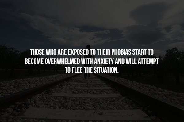 phobia - Text - THOSE WHO ARE EXPOSED TO THEIR PHOBIAS START TO BECOME OVERWHELMED WITH ANXIETY AND WILL ATTEMPT TO FLEE THE SITUATION.
