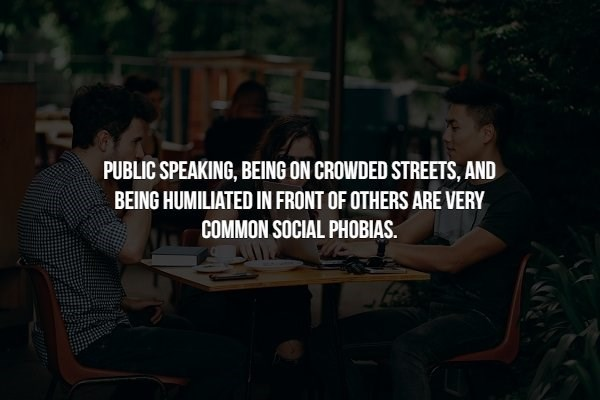 phobia - Text - PUBLIC SPEAKING, BEING ON CROWDED STREETS, AND BEING HUMILIATED IN FRONT OF OTHERS ARE VERY COMMON SOCIAL PHOBIAS. P