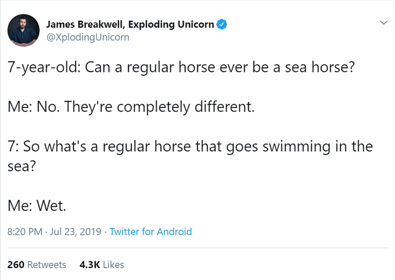 Text - James Breakwell, Exploding Unicorn @XplodingUnicorn 7-year-old: Can a regular horse ever be a sea horse? Me: No. They're completely different. 7: So what's a regular horse that goes swimming in the sea? Me: Wet. 8:20 PM Jul 23, 2019 Twitter for Android 260 Retweets 4.3K Likes >