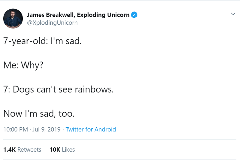 Text - James Breakwell, Exploding Unicorn @XplodingUnicorn 7-year-old: I'm sad. Me: Why? 7: Dogs can't see rainbows. Now I'm sad, too. 10:00 PM Jul 9, 2019 Twitter for Android 10K Likes 1.4K Retweets