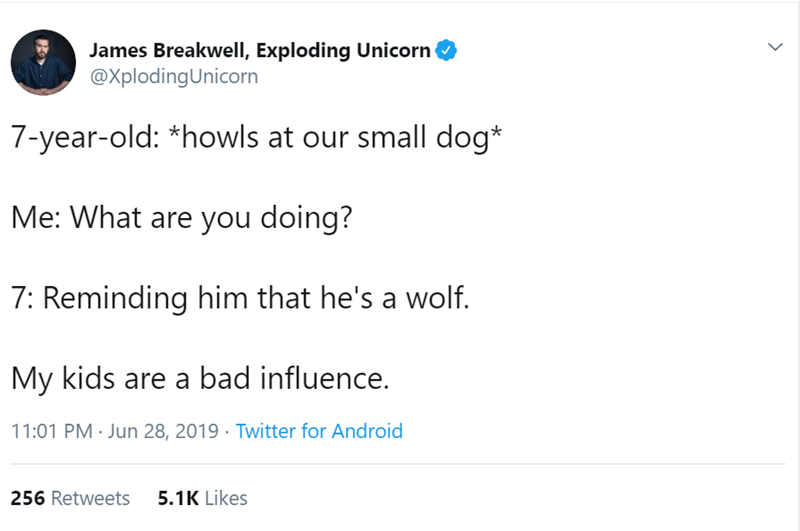 Text - James Breakwell, Exploding Unicorn @XplodingUnicorn 7-year-old: *howls at our small dog* Me: What are you doing? 7: Reminding him that he's a wolf. My kids are a bad influence. 11:01 PM Jun 28, 2019 Twitter for Android 5.1K Likes 256 Retweets