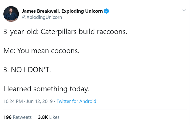 Text - James Breakwell, Exploding Unicorn @XplodingUnicorn 3-year-old: Caterpillars build raccoons. Me: You mean cocoons. 3: NO I DON'T I learned something today. 10:24 PM Jun 12, 2019 Twitter for Android 3.8K Likes 196 Retweets