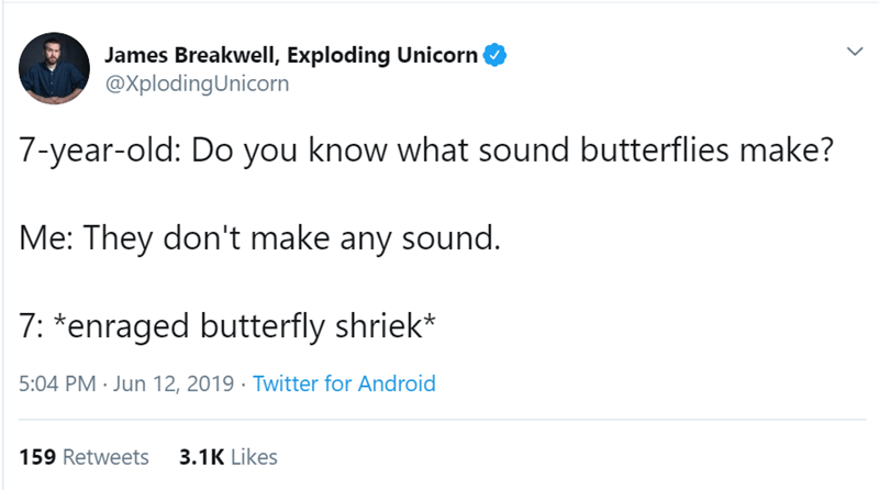 Text - James Breakwell, Exploding Unicorn @XplodingUnicorn 7-year-old: Do you know what sound butterflies make? Me: They don't make any sound. 7: *enraged butterfly shriek* 5:04 PM Jun 12, 2019 Twitter for Android 3.1K Likes 159 Retweets