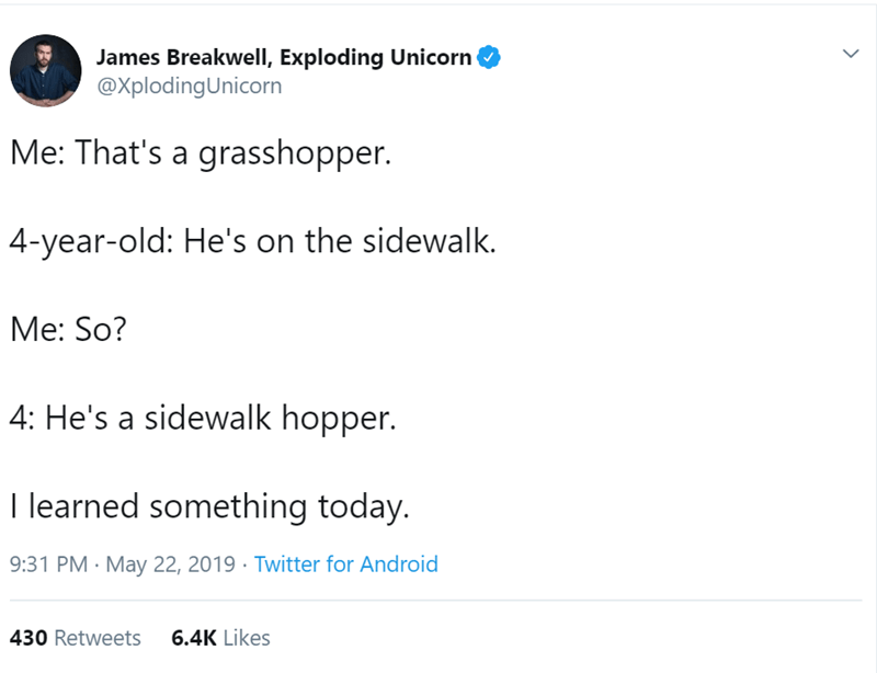 Text - James Breakwell, Exploding Unicorn @XplodingUnicorn Me: That's a grasshopper. 4-year-old: He's on the sidewalk. Me: So? 4: He's a sidewalk hopper. I learned something today. 9:31 PM May 22, 2019 Twitter for Android 6.4K Likes 430 Retweets >