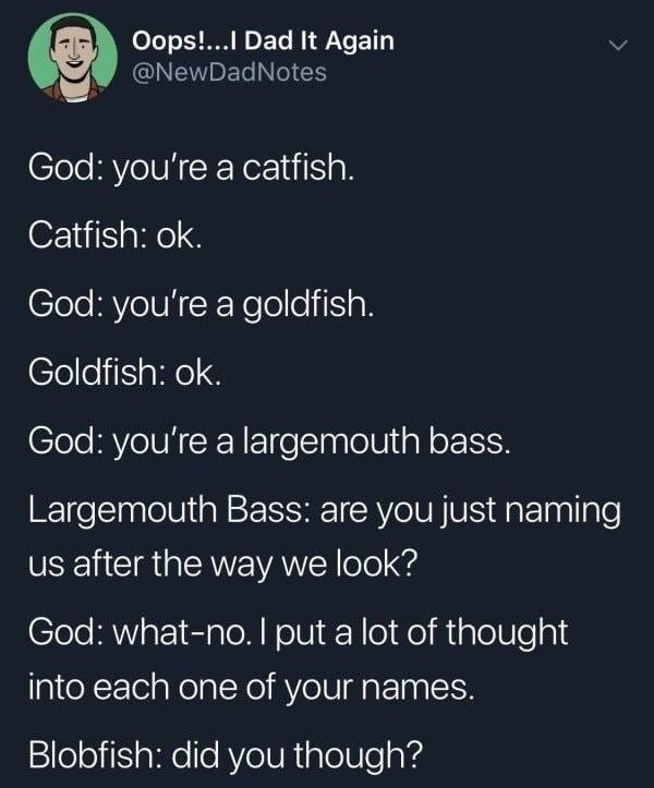 troll - Text - Oops!...I Dad It Again @NewDadNotes God: you're a catfish. Catfish: ok God: you're a goldfish. Goldfish: ok. God: you're a largemouth bass. Largemouth Bass: are you just naming us after the way we look? God: what-no. I put a lot of thought into each one of your name Blobfish: did you though?
