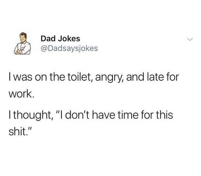 "meme - Text - Dad Jokes @Dadsaysjokes Iwas on the toilet, angry, and late for work Ithought, ""I don't have time for this shit."""