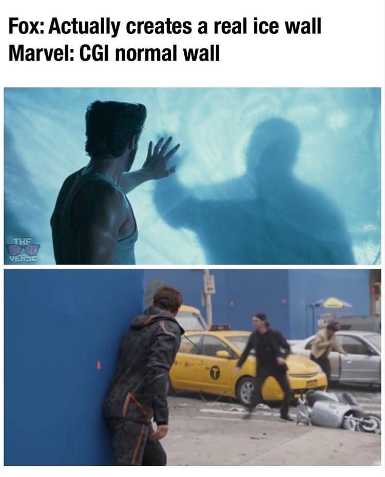 "Meme - ""Fox: Actually creates a real ice wall Marvel: CGI normal wall"""