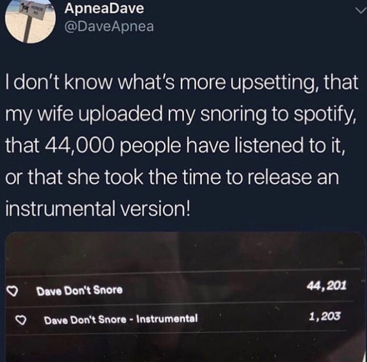 Text - ApneaDave @DaveApnea I don't know what's more upsetting, that my wife uploaded my snoring to spotify, that 44,000 people have listened to it, or that she took the time to release an instrumental version! 44,201 Dave Don't Snore 1,203 Dave Don't Snore - Instrumental