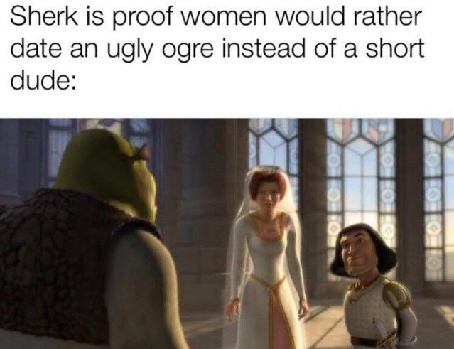 meme - Text - Sherk is proof women would rather date an ugly ogre instead of a short dude: