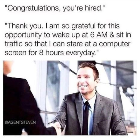 """Meme - """"'Congratulations, you're hired.' 'Thank you. I am so grateful for this opportunity to wake up at 6 AM & sit in traffic so that I can stare at a computer screen for 8 hours everyday.'"""""""