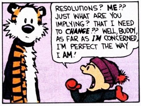 Cartoon - RESOLUTIONS? ME?? JUST WHAT ARE YOU IMPLYING? THAT I NEED TO CHANGE?? WELL, BUDDY, AS FAR AS IM CONCERNED IM PERFECT THE WAY I AM