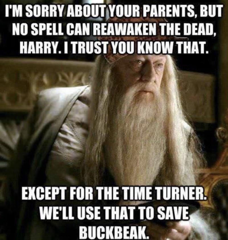Photo caption - I'M SORRY ABOUTYOUR PARENTS, BUT NO SPELL CAN REAWAKEN THE DEAD, HARRY. I TRUST YOU KNOW THAT. EXCEPT FOR THE TIME TURNER WE'LL USE THAT TO SAVE BUCKBEAK.
