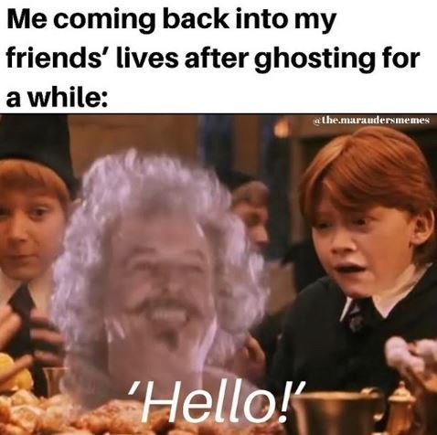 People - Me coming back into my friends' lives after ghosting for a while: the.maraudersmemes Hello