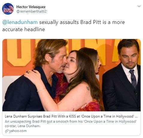 "Tweet - ""@lenadunham sexually assaults Brad Pitt is a more accurate headline"""