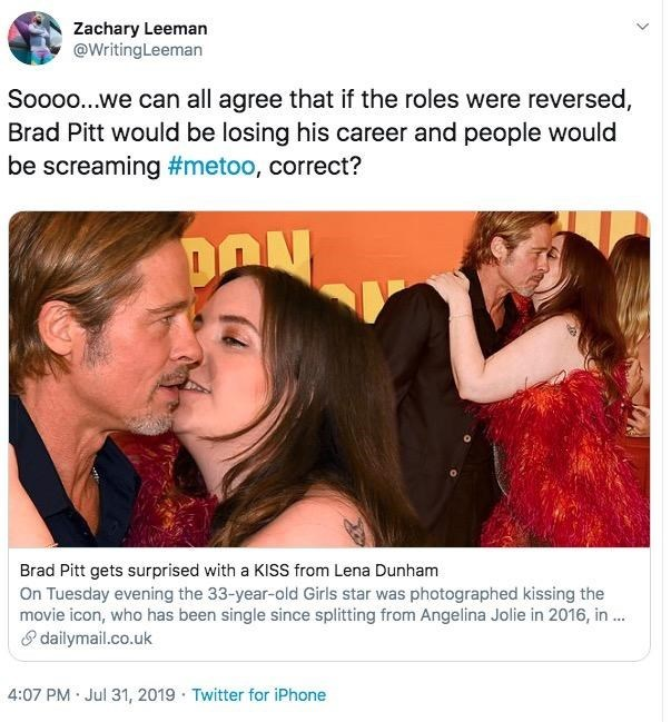 "Tweet - ""Soooo...we can all agree that if the roles were reversed, Brad Pitt would be losing his career and people would be screaming #metoo, correct?"""