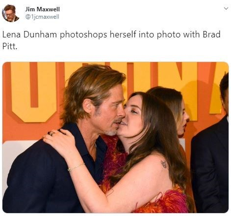 Interaction - Jim Maxwell @1jcmaxwell Lena Dunham photoshops herself into photo with Brad Pitt. US