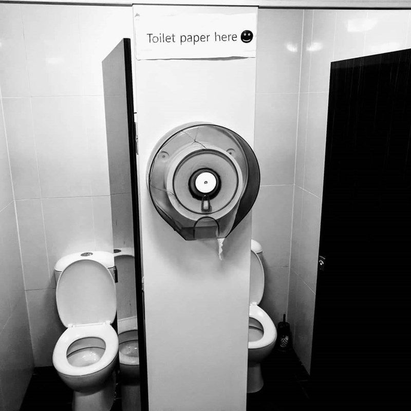cursed toilet - Monochrome - Toilet paper here