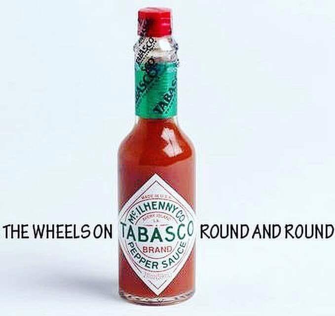 Bottle - SAHENWICS THE WHEELS ON TABASCO ROUND AND ROUND BRAND PSAUCE EPPES ABA