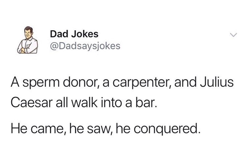 Text - Dad Jokes @Dadsaysjokes A sperm donor, a carpenter, and Julius Caesar all walk into a bar. He came, he saw, he conquered