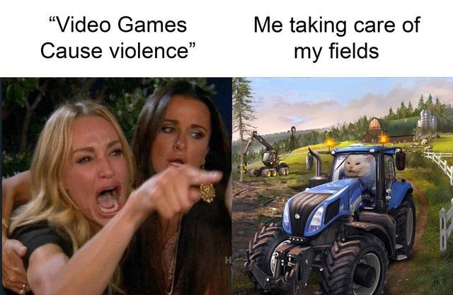 """video game violence - Tractor - """"Video Games Me taking care of my fields Cause violence"""""""