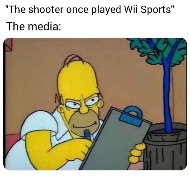 """video game violence - Cartoon - """"The shooter once played Wii Sports"""" The media:"""