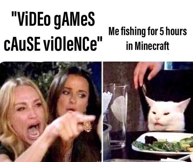 """video game violence - Photo caption - """"VIDEO GAMES Me fishing for 5 hours CAUSE viOleNCe"""" in Minecraft"""