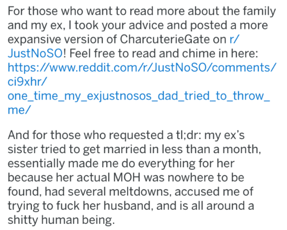 bridezilla - Text - For those who want to read more about the family and my ex, I took your advice and posted a more expansive version of CharcuterieGate on r/ Just NOSO! Feel free to read and chime in here: https://www.reddit.com/r/JustNoSO/comments/ ci9xhr/ one_time_my_exjustnosos_dad_tried_to_throw_ me/ And for those who requested a tl;dr: my ex's sister tried to get married in less than a month essentially made me do everything for her because her actual MOH was nowhere to be found, had seve