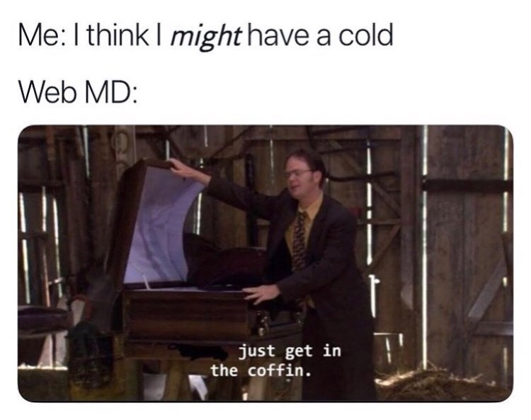 """Meme - """"Me: I think I might have a cold Web MD: just get in the coffin"""""""