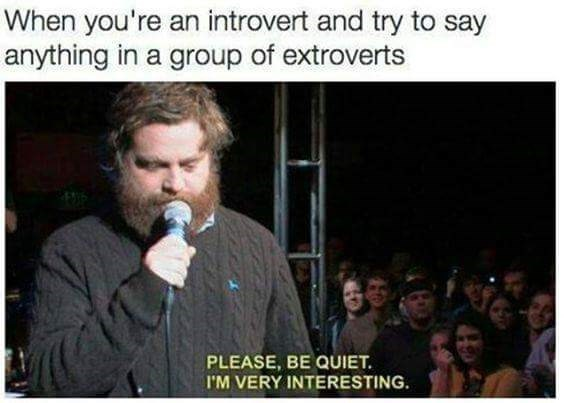 """Meme - """"When you're an introvert and try to say anything in a group of extroverts PLEASE, BE QUIET I'M VERY INTERESTING"""""""