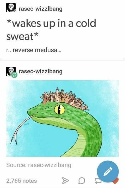 Reptile - rasec-wizzlbang iT *wakes up in a cold sweat* r.. reverse medusa... rasec-wizzlbang Rele Source: rasec-wizzlbang 2,765 notes
