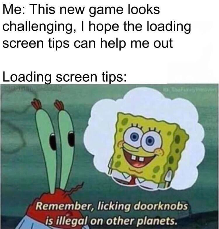 Text - Me: This new game looks challenging, I hope the loading screen tips can help me out Loading screen tips: TheF yin Remember, licking doorknobs is illegal on other planets.