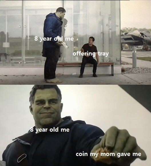 Photo caption - 8 year old me offering tray 8 year old me coin my mom gave me