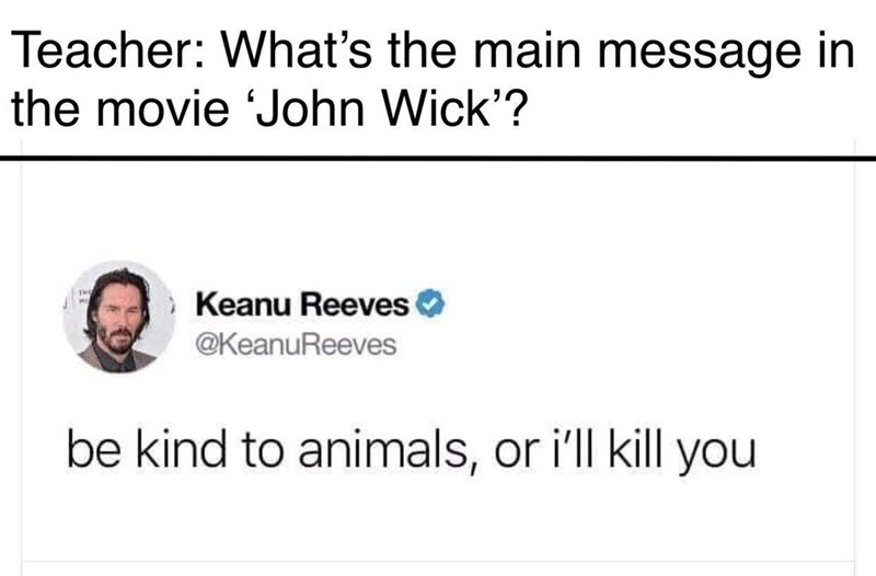 Text - Teacher: What's the main message in the movie John Wick'? Keanu Reeves @KeanuReeves be kind to animals, or i'll kill you