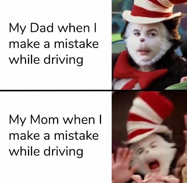 Facial expression - My Dad when I make a mistake while driving My Mom when I make a mistake while driving