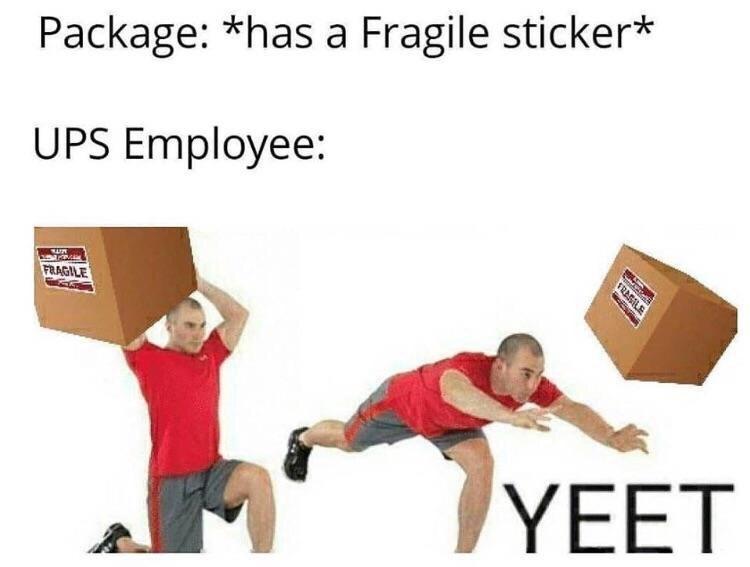 Package: *has a Fragile sticker* UPS Employee: hete FRAGILE YEET