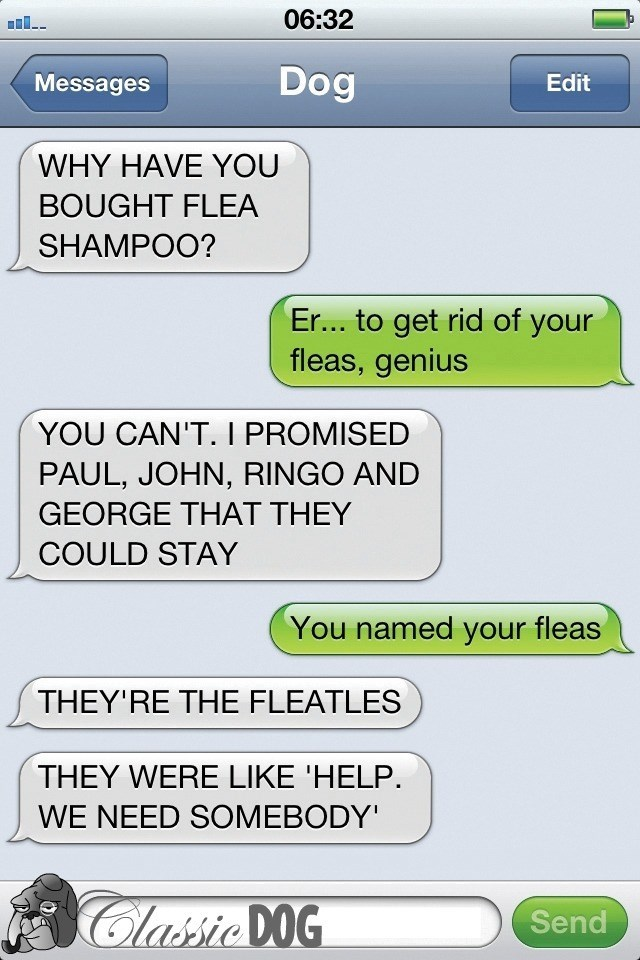 dog text - Text - 06:32 Dog Messages Edit WHY HAVE YOU BOUGHT FLEA SHAMPOO? Er... to get rid of your fleas, genius YOU CAN'T. I PROMISED PAUL, JOHN, RINGO AND GEORGE THAT THEY COULD STAY You named your fleas THEY'RE THE FLEATLES THEY WERE LIKE 'HELP. WE NEED SOMEBODY Classic DOG Send