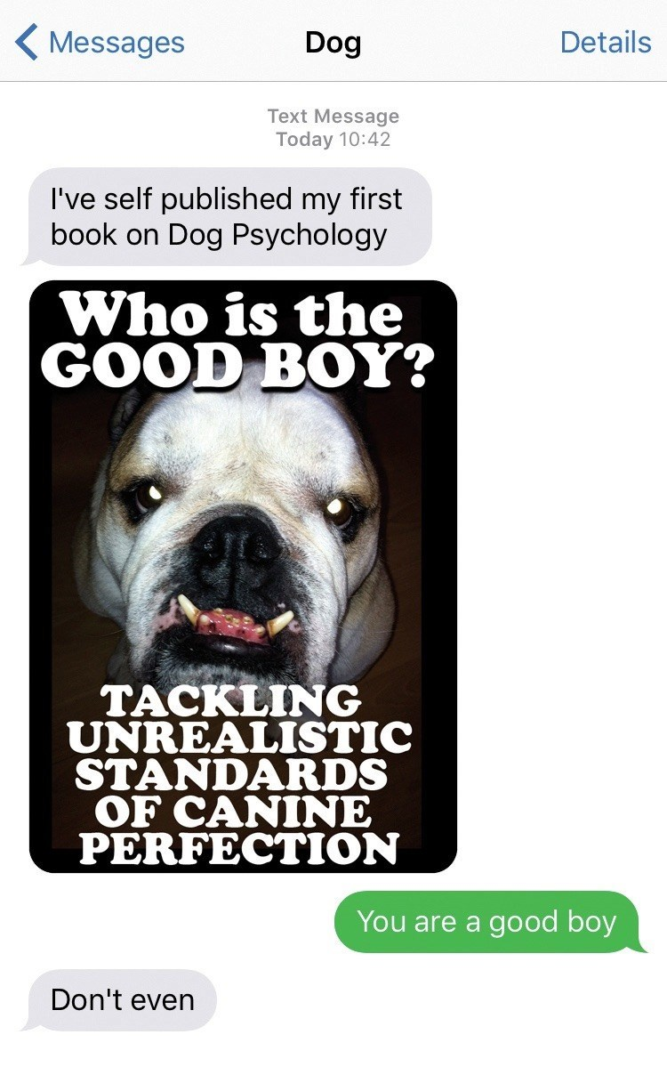 dog text - Dog - Details Messages Dog Text Message Today 10:42 I've self published my first book on Dog Psychology Who is the GOOD BOY? ТАСKLING UNREALISTIC STANDARDS OF CANINE PERFECTION You are a good boy Don't even
