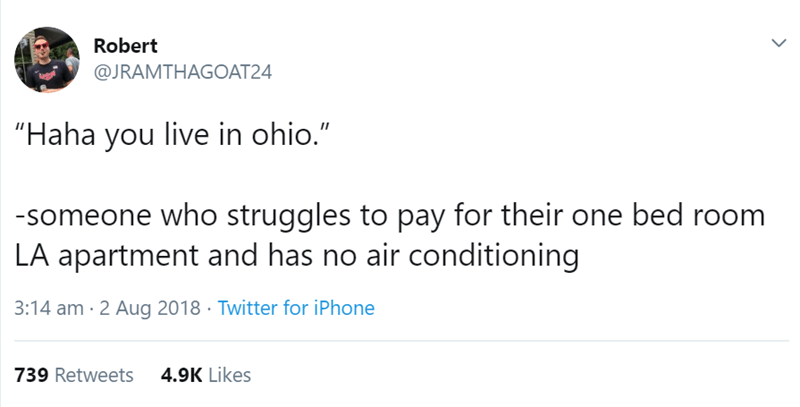 "los angeles - Text - Robert @JRAMTHAGOAT24 ""Haha you live in ohio."" -someone who struggles to pay for their one bed room LA apartment and has no air conditioning 3:14 am 2 Aug 2018 Twitter for iPhone 739 Retweets 4.9K Likes"