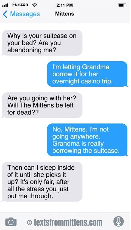cat text - Text - .Furizon 2:11 PM Messages Mittens Why is your suitcase on your bed? Are you abandoning me? I'm letting Grandma borrow it for her overnight casino trip. Are you going with her? Will The Mittens be left for dead?? No, Mittens. I'm not going anywhere. Grandma is really borrowing the suitcase. Then can I sleep inside of it until she picks it up? It's only fair, after all the stress you just put me through. textsfrommittens.com