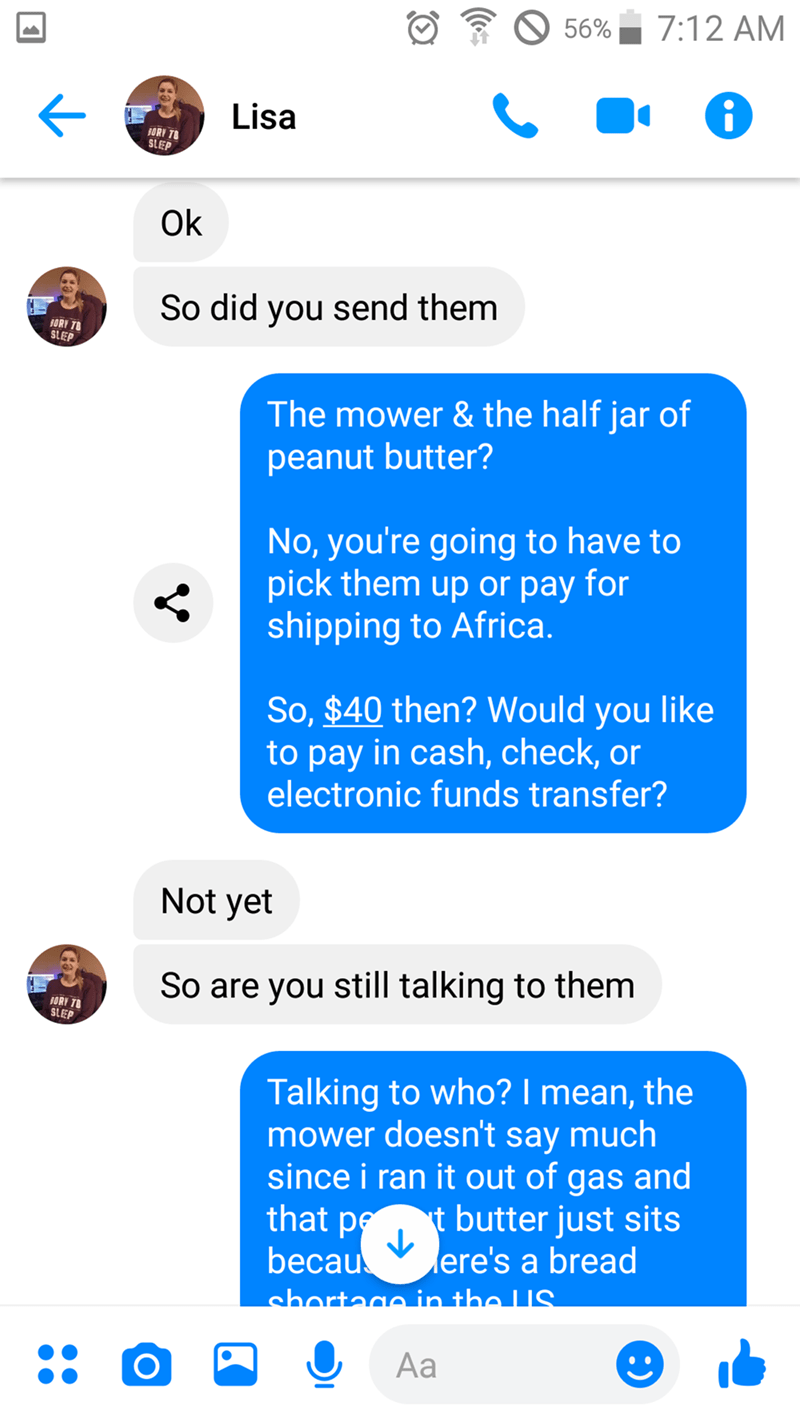 scammer - Text - 7:12 AM 56% Lisa ORY T8 SLEP Ok So did you send them ORY 78 SLEEP The mower & the half jar of peanut butter? No, you're going to have to pick them up or pay for shipping to Africa. So, $40 then? Would you like to pay in cash, check, or electronic funds transfer? Not yet So are you still talking to them ORY T SLEP Talking to who? I mean, the mower doesn't say much since i ran it out of gas and that petbutter just sits becau ere's a bread shortago in tho US Aa