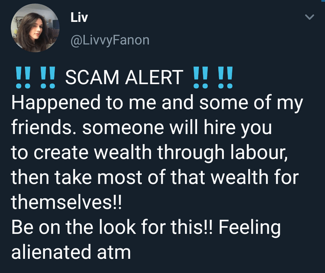 meme - Text - Liv @LivvyFanon SCAM ALERT !! !| Happened to me and some of my friends. someone will hire you to create wealth through labour, then take most of that wealth for !! !! themselves!! Be on the look for this!! Feeling alienated atm