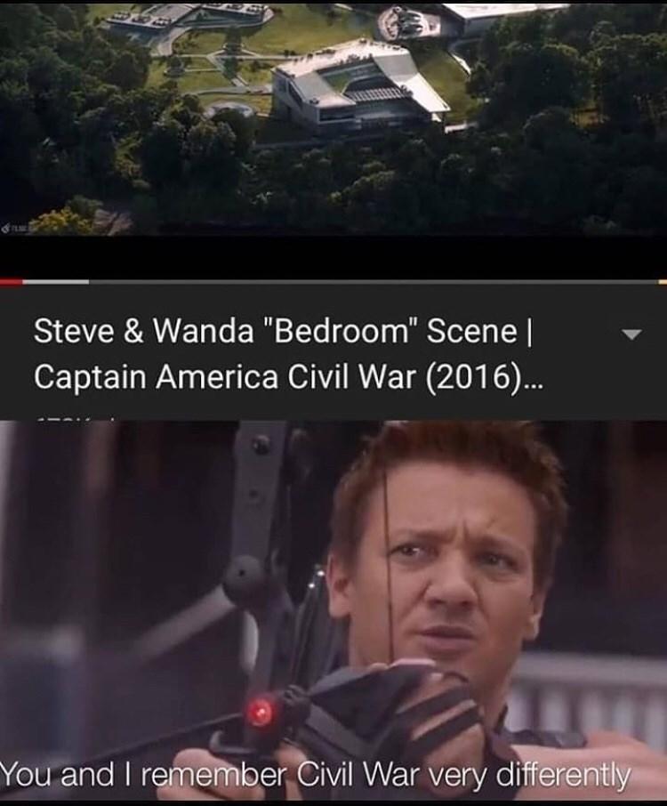 "meme - Photo caption - Steve & Wanda ""Bedroom"" Scene | Captain America Civil War (2016).. You and I remember Civil War very differently"