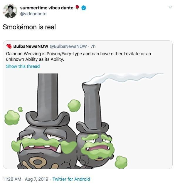 "Tweet - ""Smokémon is real"""