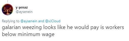 """Tweet - """"galarian weezing looks like he would pay is workers below minimum wage"""""""
