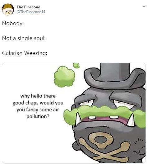 Text - The Pinecone @ThePinecone14 Nobody: Not a single soul: Galarian Weezing: why hello there good chaps would you you fancy some air pollution?