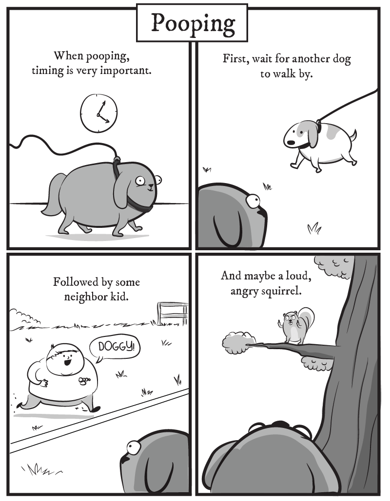 dog comic - Text - Pooping When pooping, timing is very important. First, wait for another dog to walk by And maybe a loud, angry squirrel Followed by some neighbor kid DOGGY V