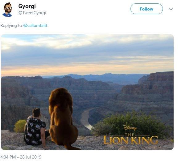 ex photoshop - Sky - Gyorgi Follow @TweetGyorgi Replying to @callumtaitt MEP THE LION KING 4:04 PM 28 Jul 2019